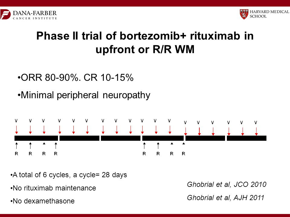 Phase II trial of bortezomib+ rituximab in upfront or R/R WM A total of 6 cycles, a cycle= 28 days No rituximab maintenance No dexamethasone ORR 80-90%.
