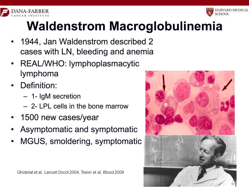 Ghobrial et al, Lancet Oncol 2004, Treon et al, Blood 2009