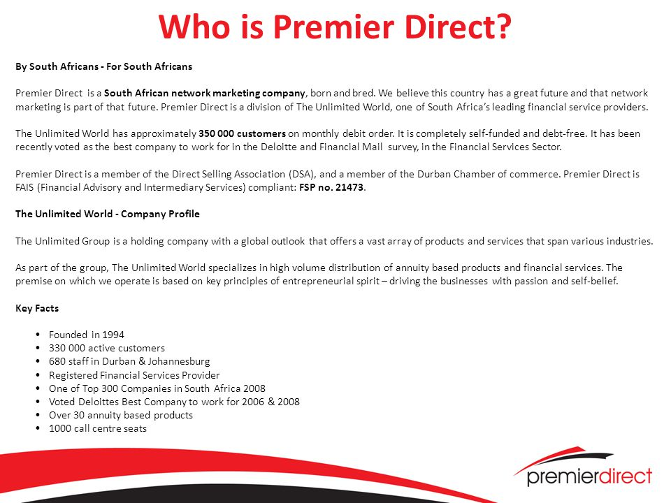 Who is Premier Direct.
