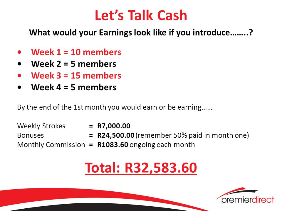 Let's Talk Cash What would your Earnings look like if you introduce……...