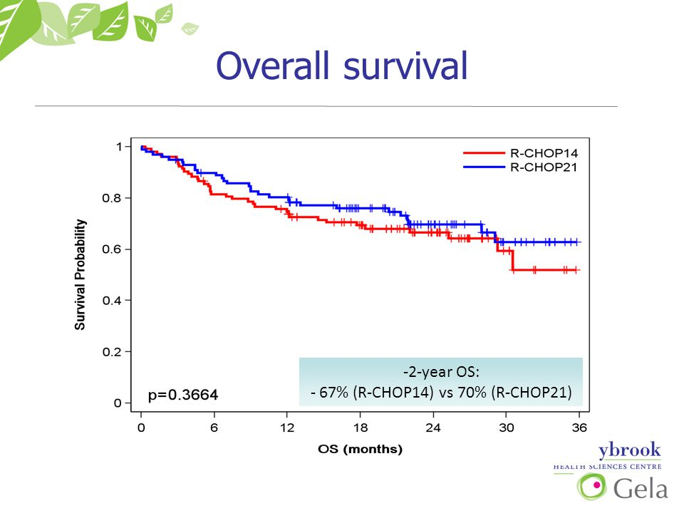 Overall survival -2-year OS: - 67% (R-CHOP14) vs 70% (R-CHOP21)