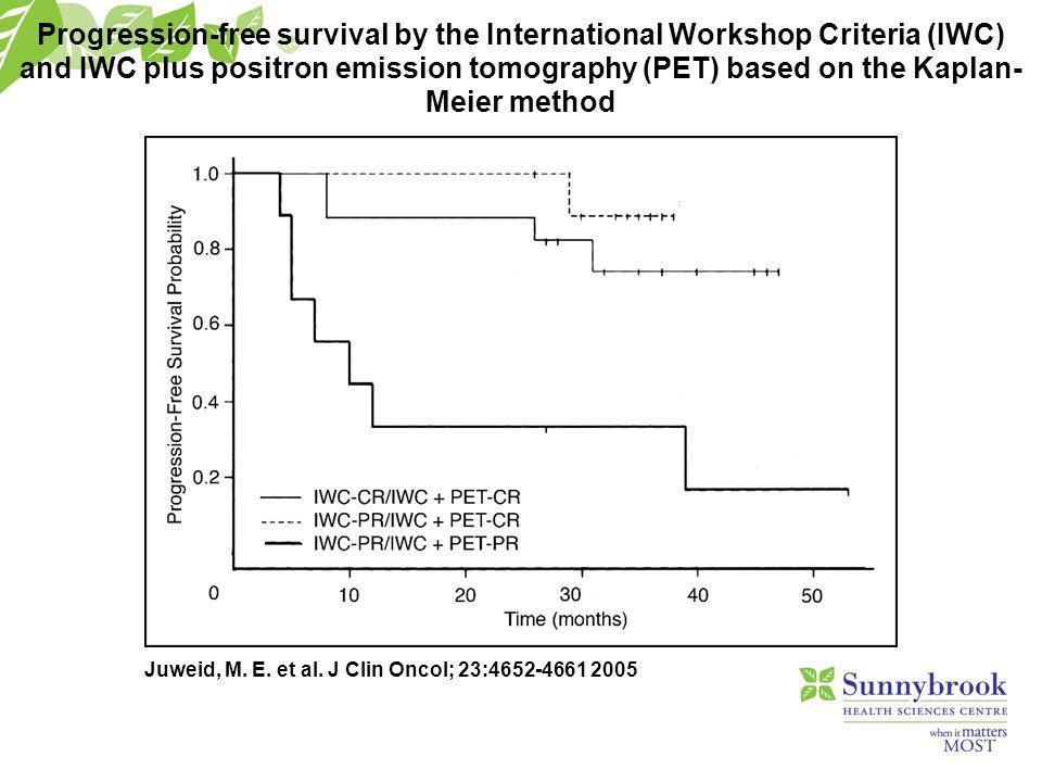 Juweid, M. E. et al. J Clin Oncol; 23:4652-4661 2005 Progression-free survival by the International Workshop Criteria (IWC) and IWC plus positron emis