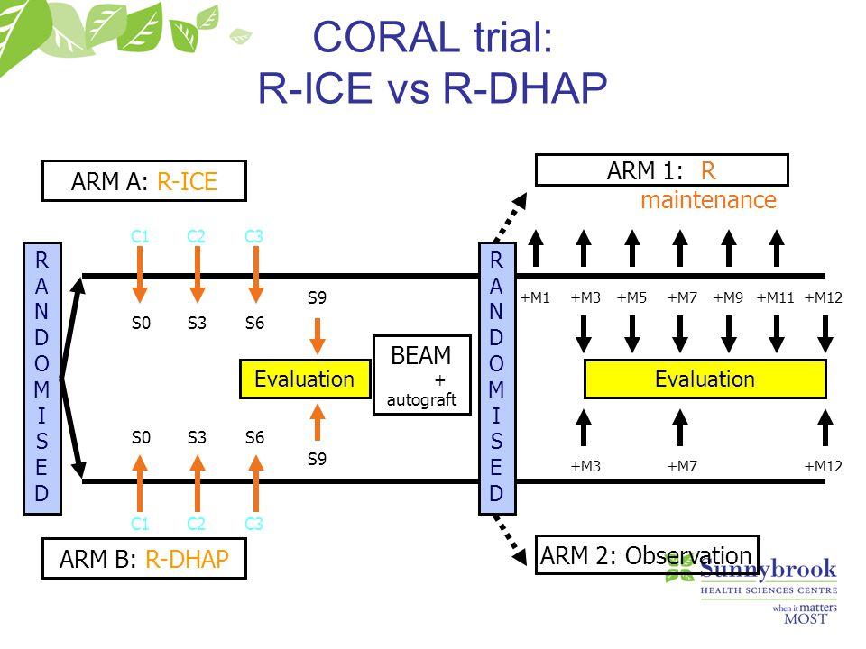 RANDOMISEDRANDOMISED ARM 1: R maintenance ARM 2: Observation C1C2C3 C1C2C3 S0S3S6 S0S3S6 Evaluation ARM B: R-DHAP ARM A: R-ICE S9 BEAM + autograft Eva