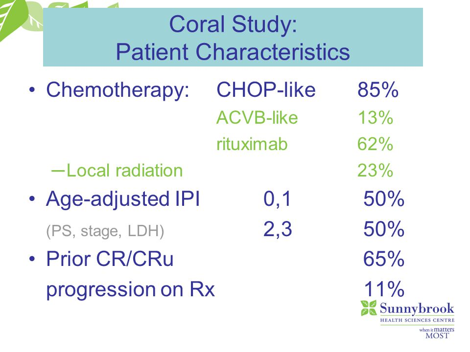 Coral Study: Patient Characteristics Chemotherapy:CHOP-like85% ACVB-like13% rituximab62% ─ Local radiation23% Age-adjusted IPI0,1 50% (PS, stage, LDH)