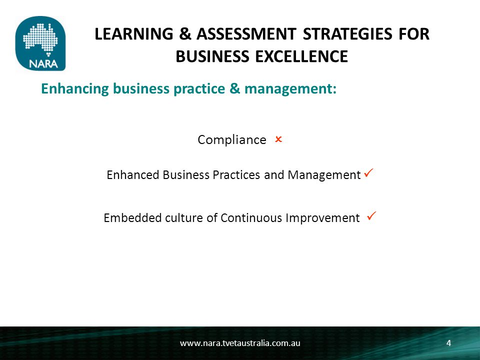 LEARNING & ASSESSMENT STRATEGIES FOR BUSINESS EXCELLENCE www.nara.tvetaustralia.com.au4 Enhancing business practice & management: Compliance  Enhanced Business Practices and Management  Embedded culture of Continuous Improvement 