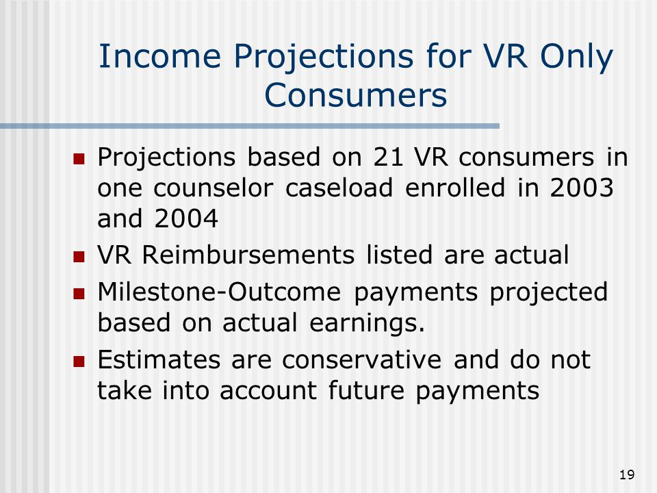 19 Income Projections for VR Only Consumers Projections based on 21 VR consumers in one counselor caseload enrolled in 2003 and 2004 VR Reimbursements listed are actual Milestone-Outcome payments projected based on actual earnings.