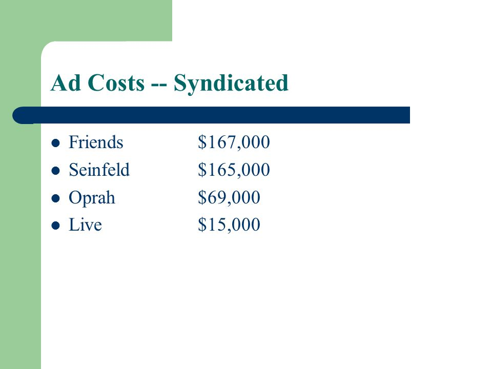 Ad Costs -- Syndicated Friends$167,000 Seinfeld$165,000 Oprah$69,000 Live$15,000