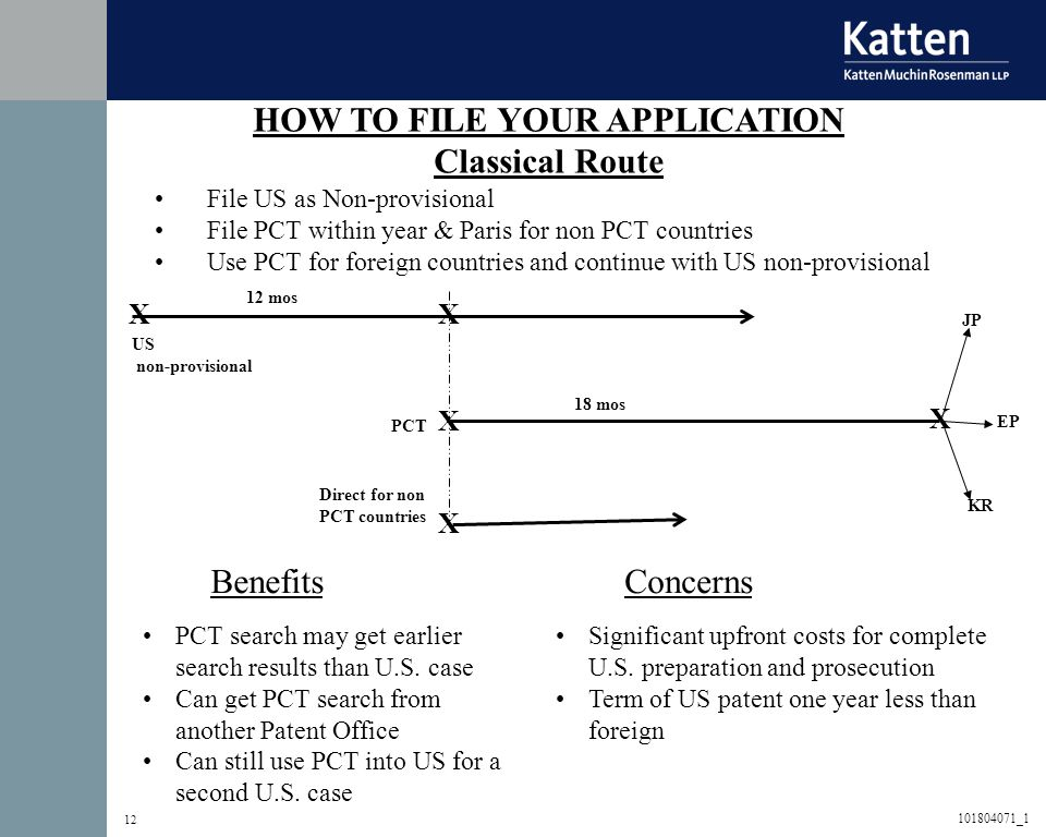 12 BenefitsConcerns HOW TO FILE YOUR APPLICATION Classical Route File US as Non-provisional File PCT within year & Paris for non PCT countries Use PCT for foreign countries and continue with US non-provisional PCT search may get earlier search results than U.S.