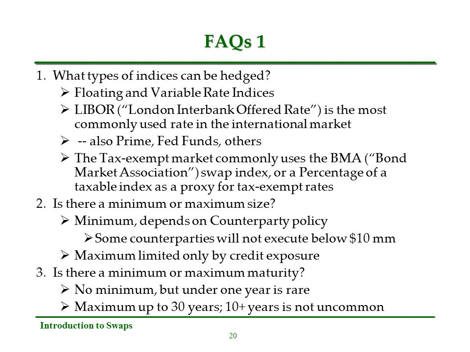 20 Introduction to Swaps FAQs 1 1. What types of indices can be hedged.