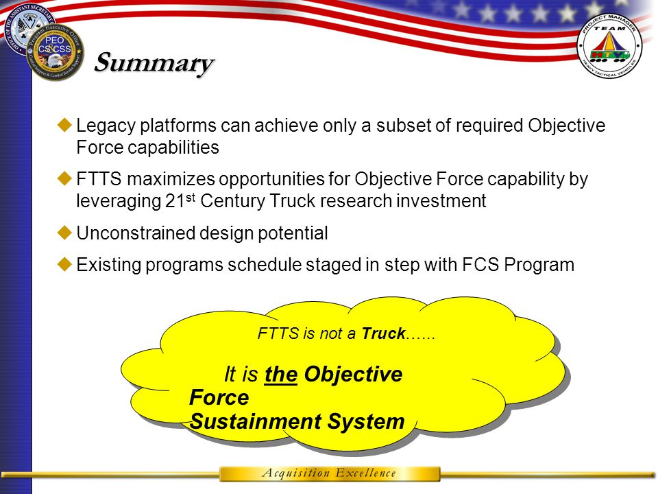 FY02FY03FY04FY05FY06FY07FY08FY09FY10FY11FY12FY13FY14FY15FY16 FCS Schedule Phase Concept and Tech Development System Development & Demonstration Production & Deployment MNS/MS A Approval FUE IOC MS C CTD Award MS B Approval MS CIOC FULL SCALE PRODUCTION LRIP FUE SDD FULL SCALE PRODUCTION ORD Milestone Schedule ACTD MS B Approval STATUS: Feb 03 – MAA/MNA Apr 03 – ACTD Proposal May 03 – O&O Sep 03 – ICD Apr 05 – CDD Aug 07 – CPD Aug 10 – FUE (MSV) FTTS-UV Schedule currently 4 years behind FTTS-MSV with procurement funding Beginning in FY12 Reduces Acquisition Reduces Acquisition Risk for the PM