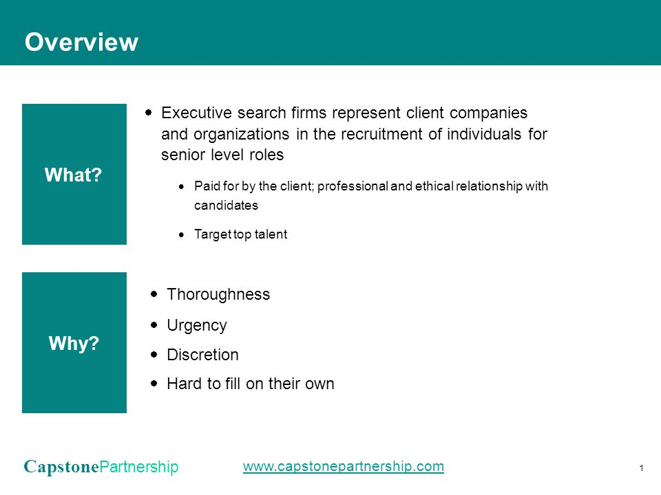 Capstone Partnership www.capstonepartnership.com  Executive search firms represent client companies and organizations in the recruitment of individuals for senior level roles  Paid for by the client; professional and ethical relationship with candidates  Target top talent Overview 1 What.
