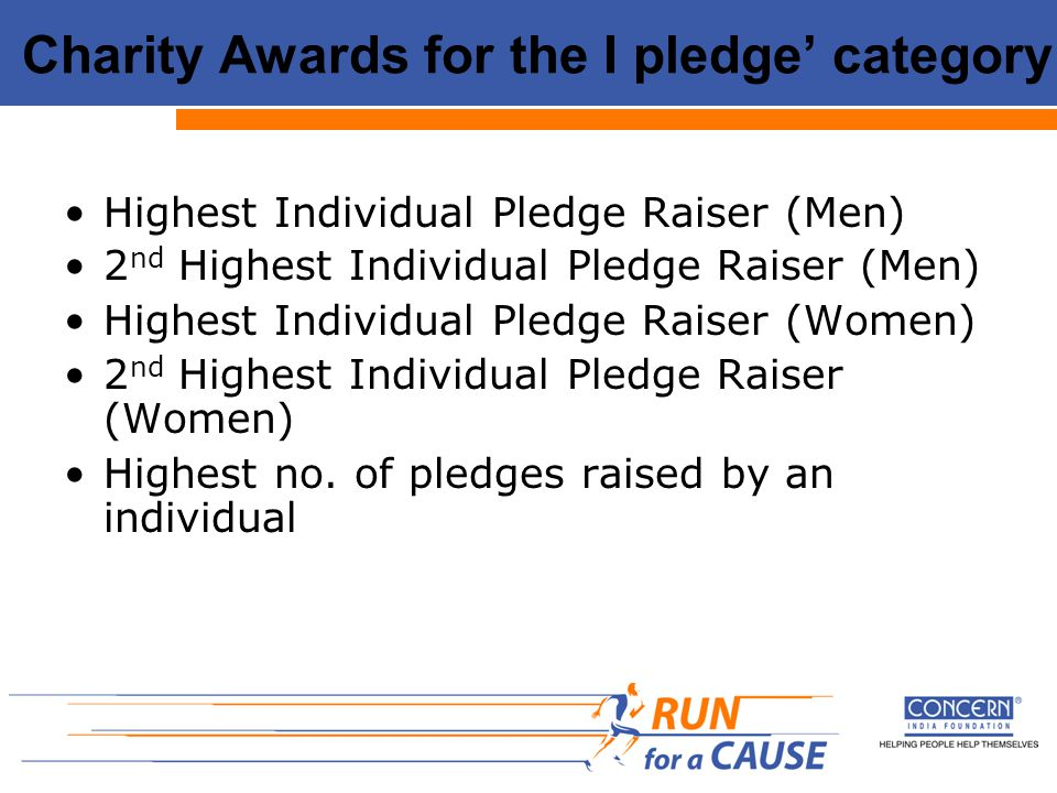 Charity Awards for the I pledge' category Highest Individual Pledge Raiser (Men) 2 nd Highest Individual Pledge Raiser (Men) Highest Individual Pledge Raiser (Women) 2 nd Highest Individual Pledge Raiser (Women) Highest no.