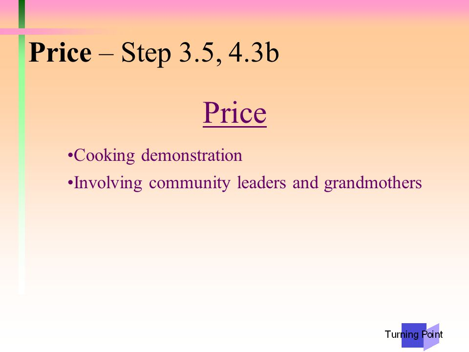 Price – Step 3.5, 4.3b Price Cooking demonstration Involving community leaders and grandmothers