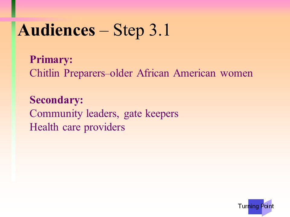 Audiences – Step 3.1 Primary: Chitlin Preparers – older African American women Secondary: Community leaders, gate keepers Health care providers