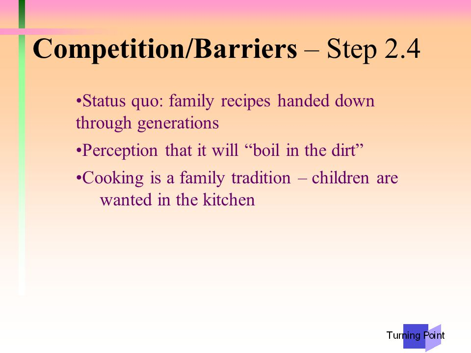 Exchange – Step 3.3 Costs Change from tradition Extra 5 minutes of work upfront Perceived change in taste Benefits Healthy children/ no trips to hospital Children can stay with you while cooking Makes cooking easier Ownership of solution
