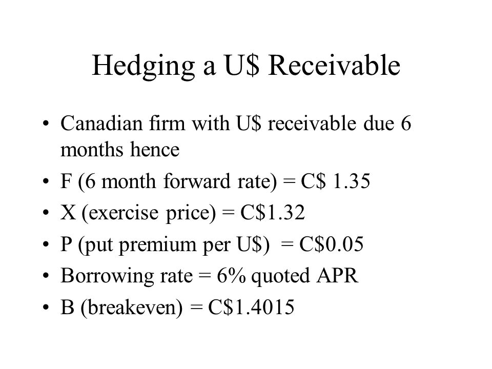 Hedging a U$ Receivable Canadian firm with U$ receivable due 6 months hence F (6 month forward rate) = C$ 1.35 X (exercise price) = C$1.32 P (put premium per U$) = C$0.05 Borrowing rate = 6% quoted APR B (breakeven) = C$1.4015