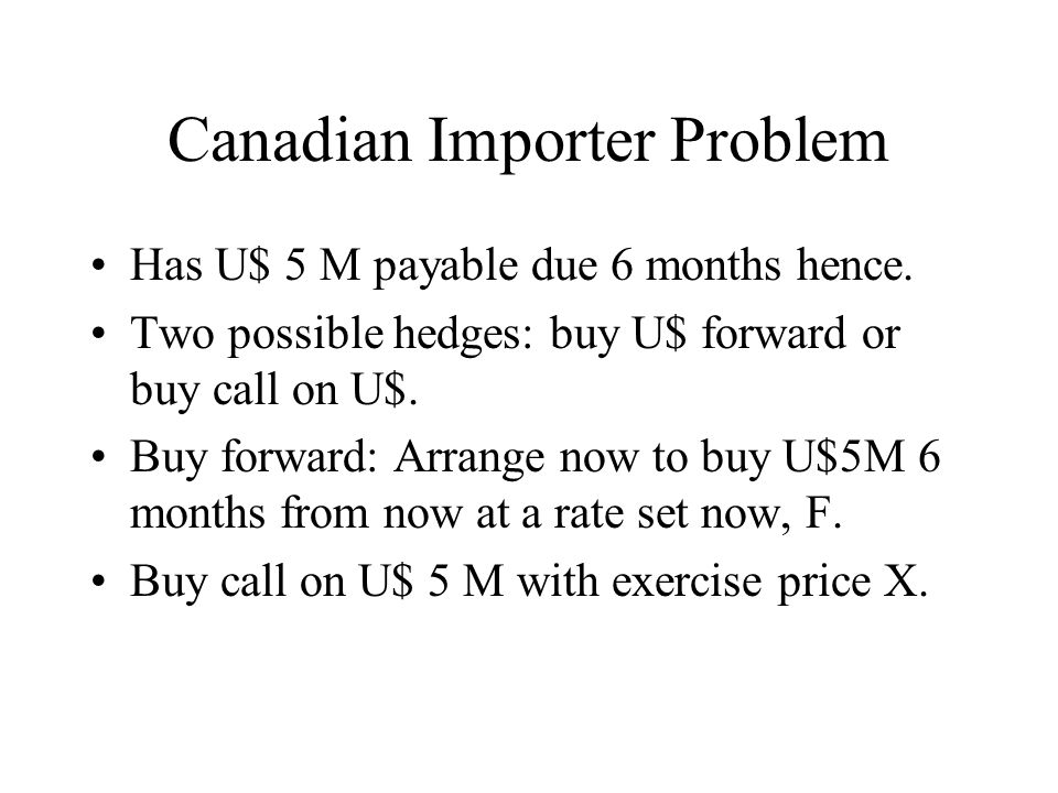 Canadian Importer Problem Has U$ 5 M payable due 6 months hence.