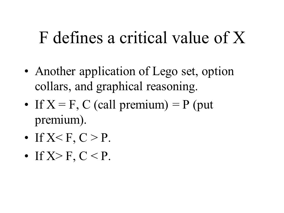 F defines a critical value of X Another application of Lego set, option collars, and graphical reasoning.