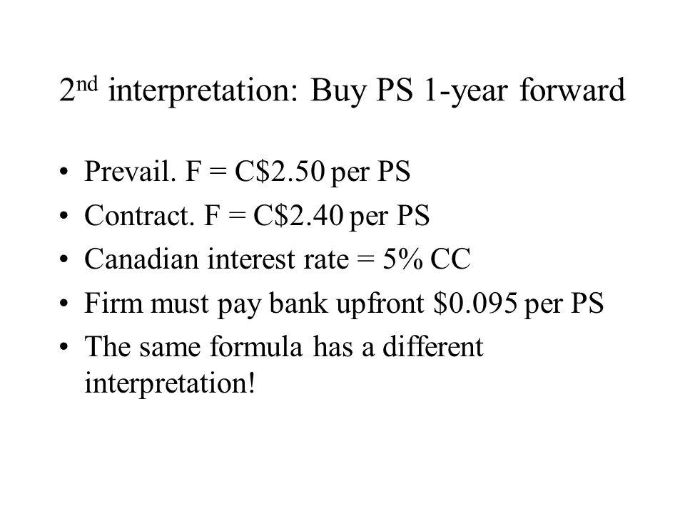 2 nd interpretation: Buy PS 1-year forward Prevail.
