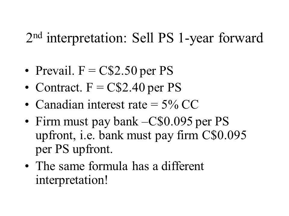2 nd interpretation: Sell PS 1-year forward Prevail.