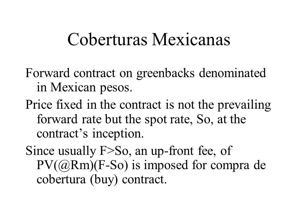 Coberturas Mexicanas Forward contract on greenbacks denominated in Mexican pesos.