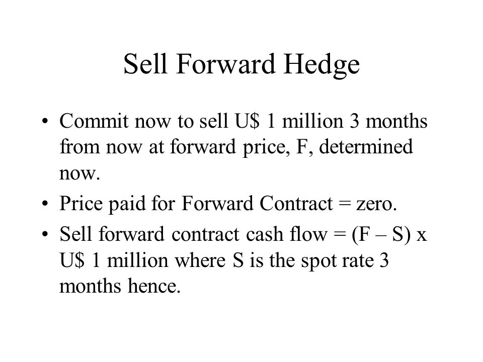 Sell Forward Hedge Commit now to sell U$ 1 million 3 months from now at forward price, F, determined now.