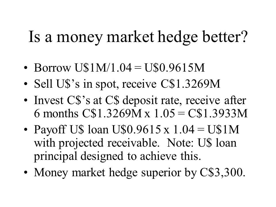 Is a money market hedge better.