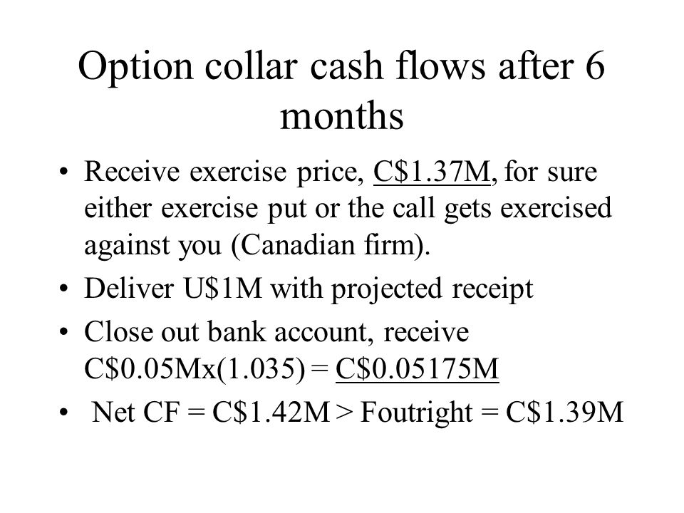 Option collar cash flows after 6 months Receive exercise price, C$1.37M, for sure either exercise put or the call gets exercised against you (Canadian firm).