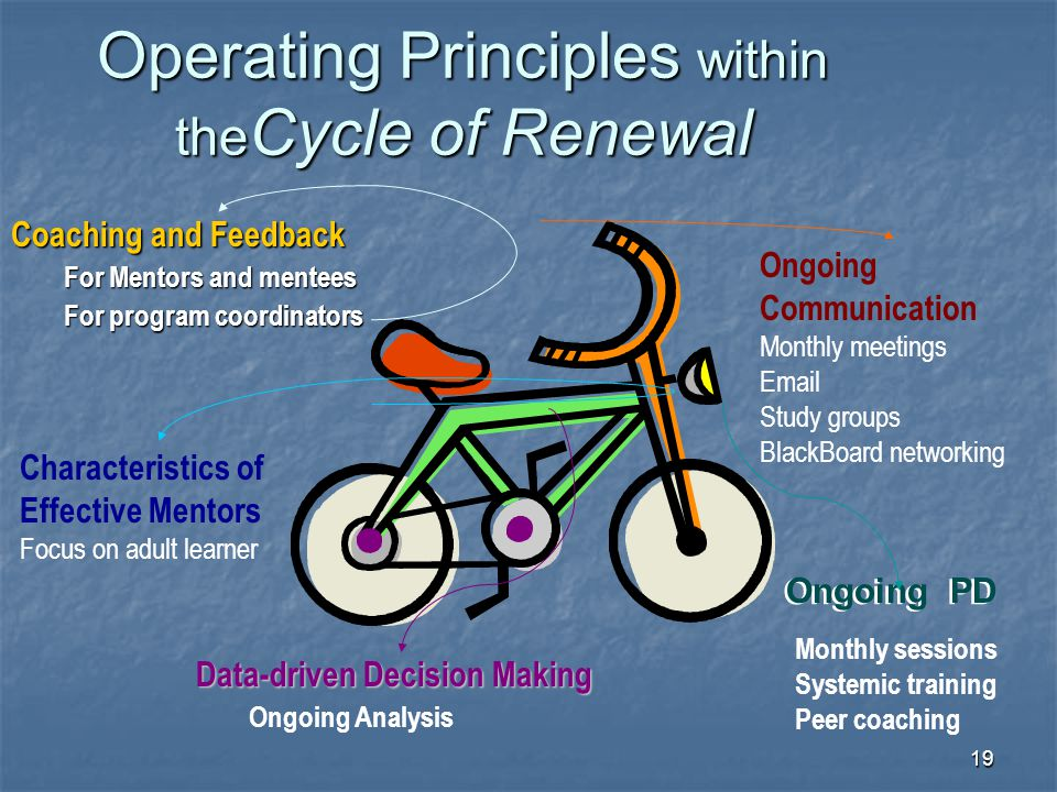 19 Operating Principles within the Cycle of Renewal Coaching and Feedback For Mentors and mentees For program coordinators Ongoing Communication Month