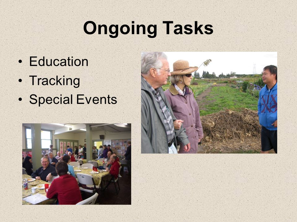 Ongoing Tasks Education Tracking Special Events