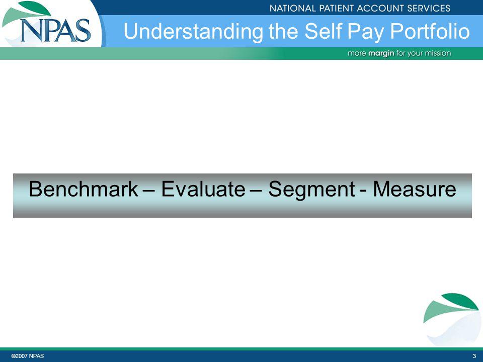 ©2007 NPAS3 Understanding the Self Pay Portfolio Benchmark – Evaluate – Segment - Measure