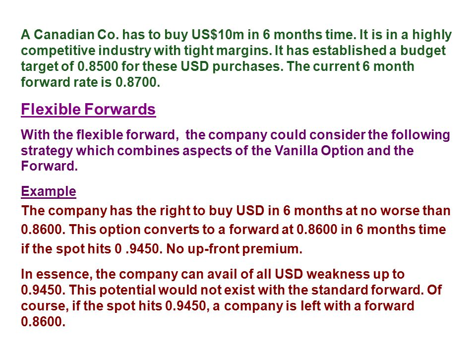 A Canadian Co. has to buy US$10m in 6 months time. It is in a highly competitive industry with tight margins. It has established a budget target of 0.