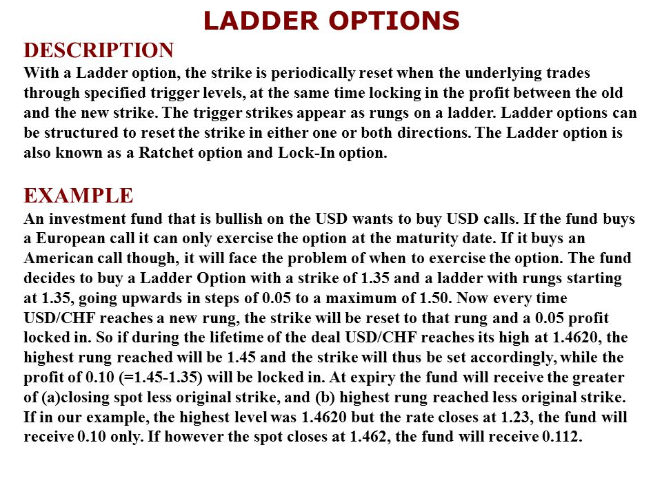 LADDER OPTIONS DESCRIPTION With a Ladder option, the strike is periodically reset when the underlying trades through specified trigger levels, at the