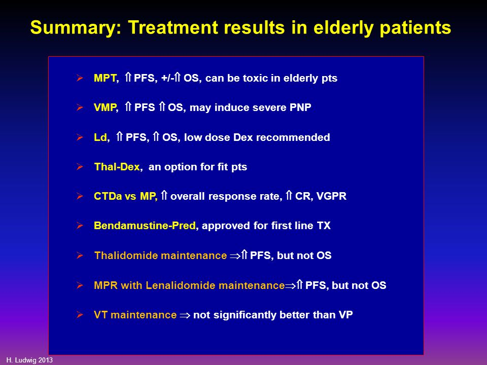 H. Ludwig 2013 Summary: Treatment results in elderly patients  MPT,  PFS, +/-  OS, can be toxic in elderly pts  VMP,  PFS  OS, may induce severe