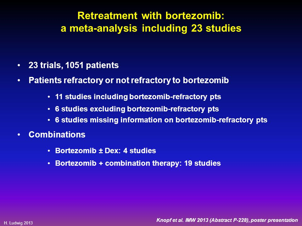 H. Ludwig 2013 Retreatment with bortezomib: a meta-analysis including 23 studies 23 trials, 1051 patients Patients refractory or not refractory to bor