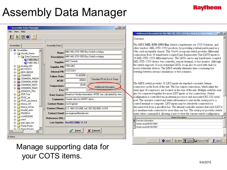 5/4/2015 Manage supporting data for your COTS items. Assembly Data Manager