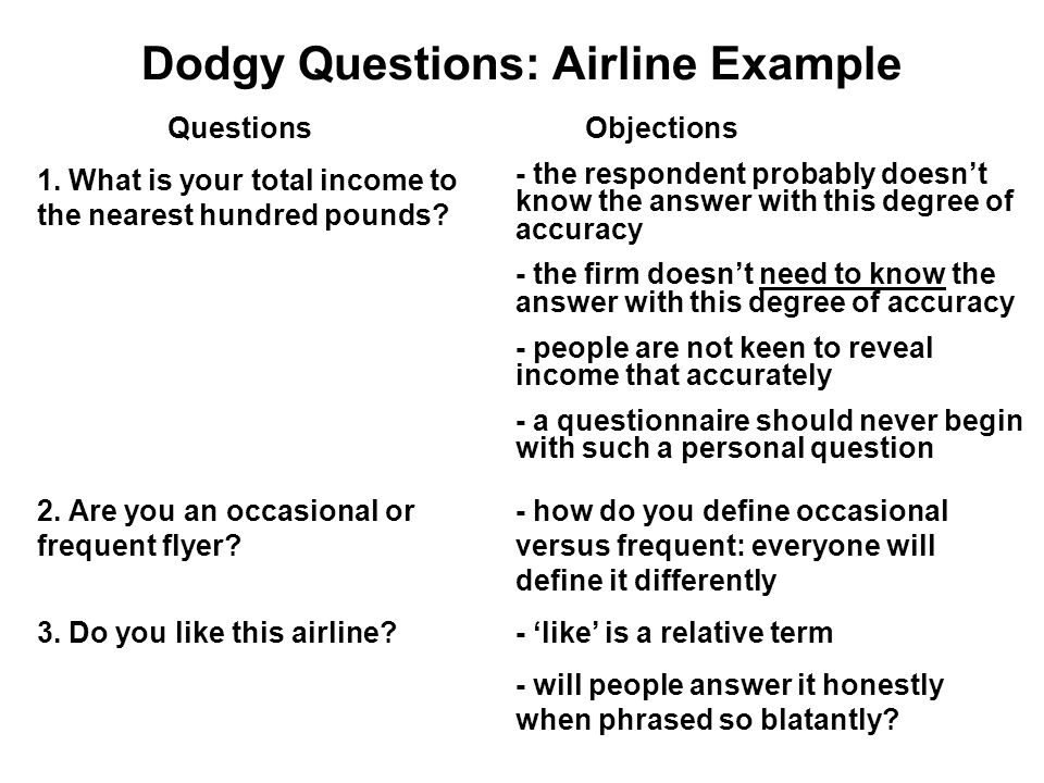 Dodgy Questions: Airline Example QuestionsObjections 1.