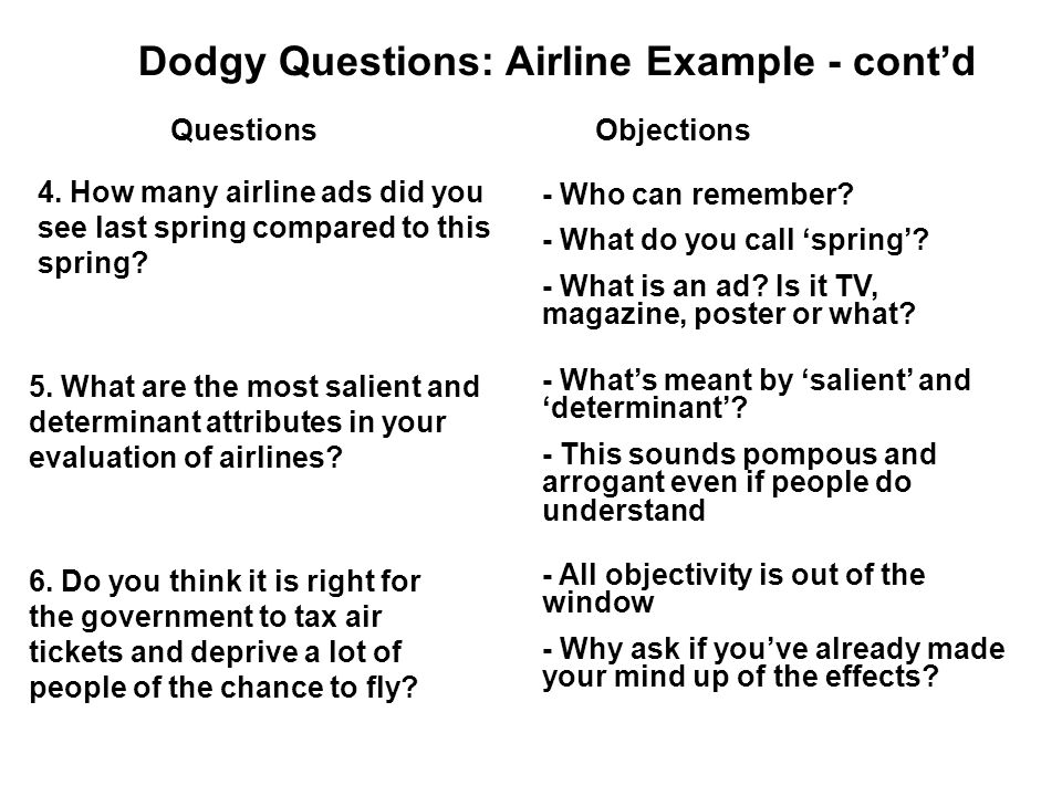 Dodgy Questions: Airline Example - cont'd QuestionsObjections 4.