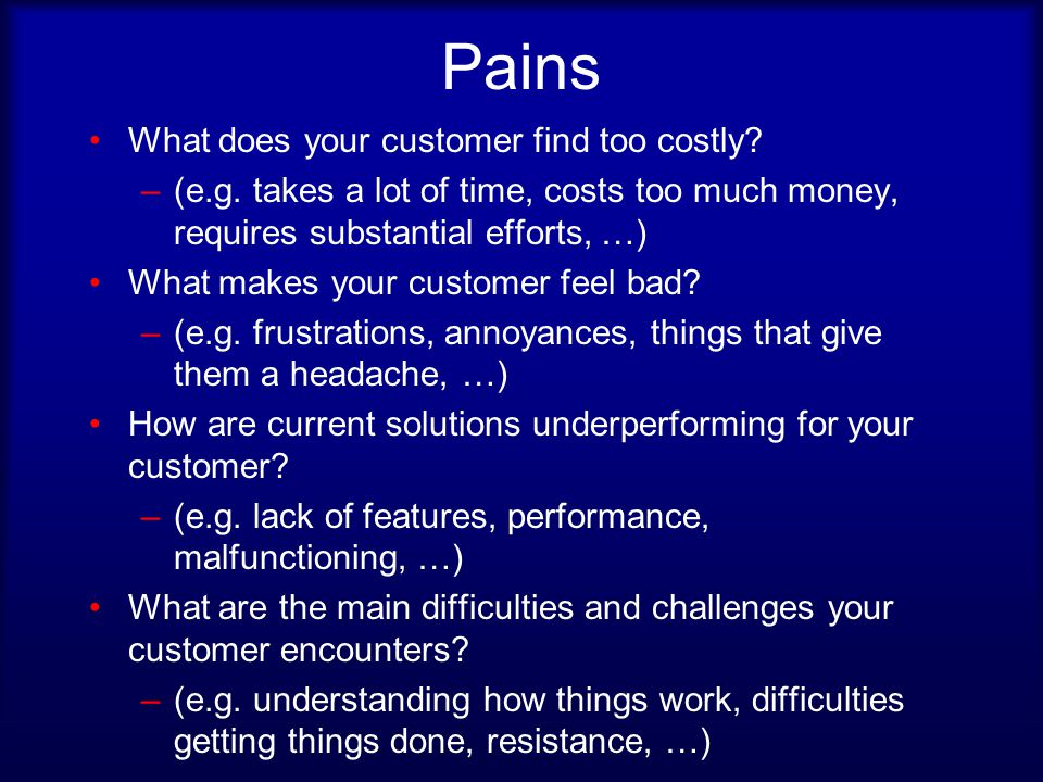 Pains What does your customer find too costly. –(e.g.
