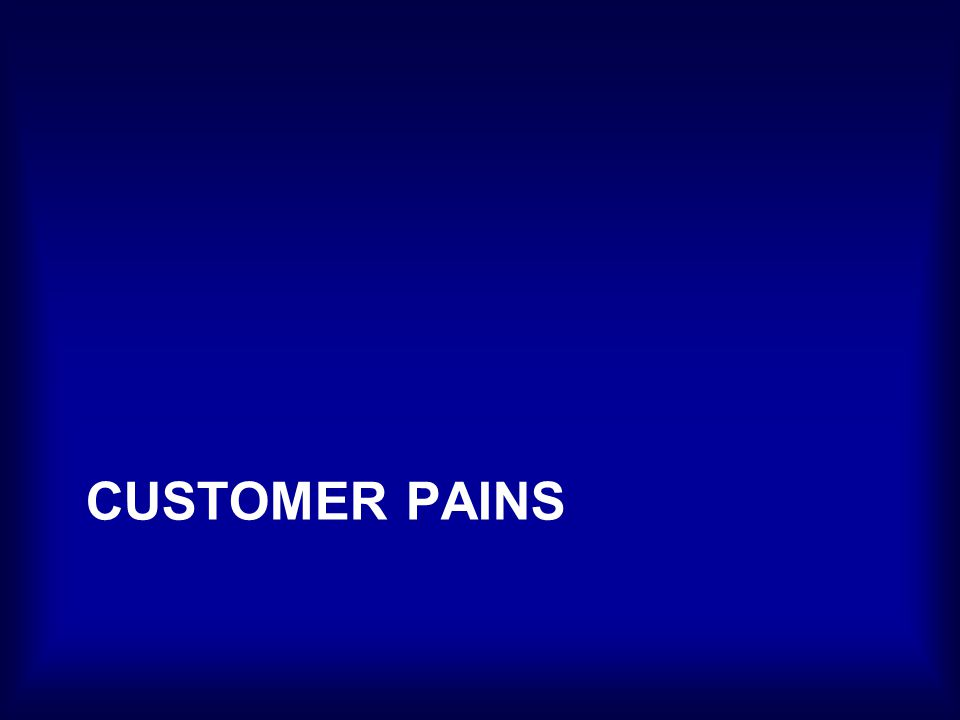 Customer Pains Negative Emotions Undesired Costs and Situations Risks That customer could experience –Before –During –After Getting the job done