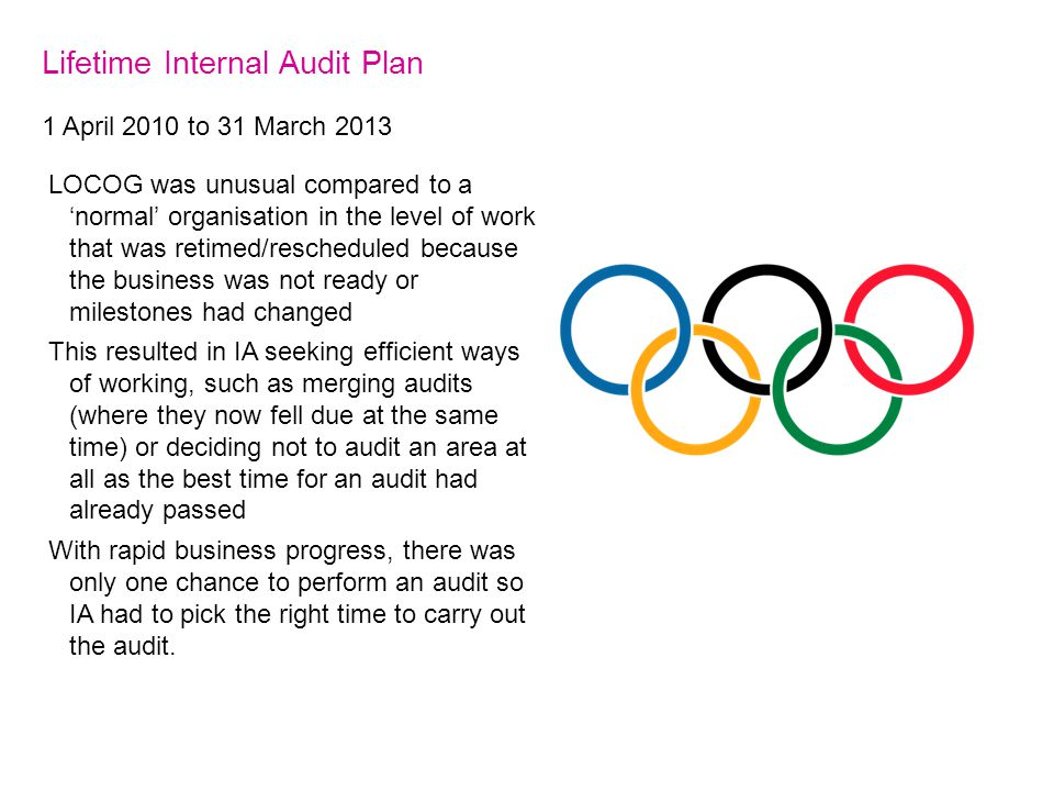 Lifetime Internal Audit Plan 1 April 2010 to 31 March 2013 LOCOG was unusual compared to a 'normal' organisation in the level of work that was retimed/rescheduled because the business was not ready or milestones had changed This resulted in IA seeking efficient ways of working, such as merging audits (where they now fell due at the same time) or deciding not to audit an area at all as the best time for an audit had already passed With rapid business progress, there was only one chance to perform an audit so IA had to pick the right time to carry out the audit.