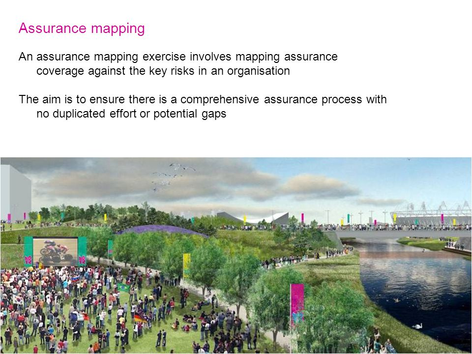 Assurance mapping An assurance mapping exercise involves mapping assurance coverage against the key risks in an organisation The aim is to ensure there is a comprehensive assurance process with no duplicated effort or potential gaps