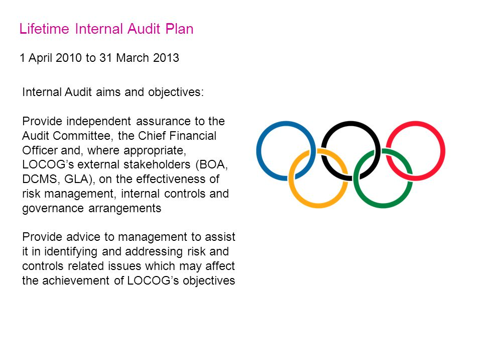 Lifetime Internal Audit Plan 1 April 2010 to 31 March 2013 Internal Audit aims and objectives: Provide independent assurance to the Audit Committee, the Chief Financial Officer and, where appropriate, LOCOG's external stakeholders (BOA, DCMS, GLA), on the effectiveness of risk management, internal controls and governance arrangements Provide advice to management to assist it in identifying and addressing risk and controls related issues which may affect the achievement of LOCOG's objectives