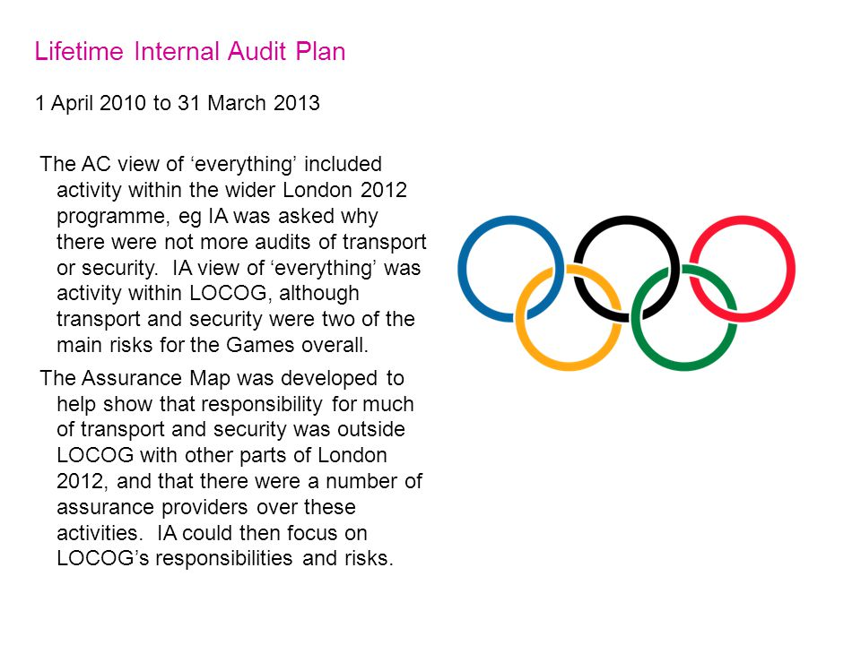 Lifetime Internal Audit Plan 1 April 2010 to 31 March 2013 The AC view of 'everything' included activity within the wider London 2012 programme, eg IA was asked why there were not more audits of transport or security.