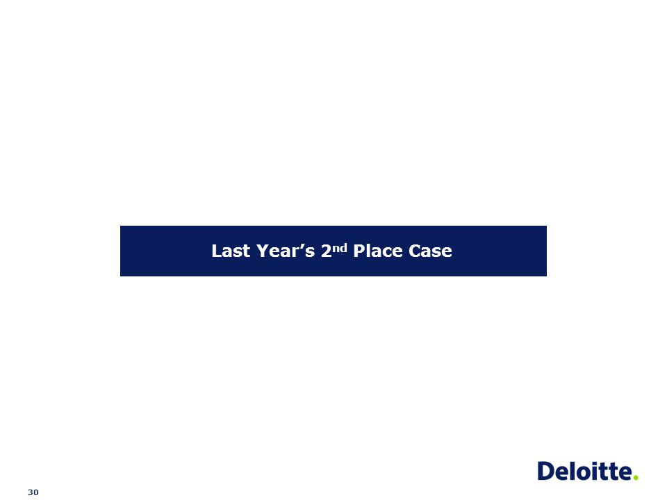 30 Last Year's 2 nd Place Case