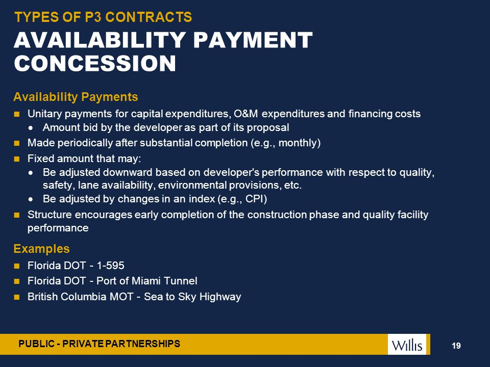 PUBLIC - PRIVATE PARTNERSHIPS AVAILABILITY PAYMENT CONCESSION Availability Payments Unitary payments for capital expenditures, O&M expenditures and fi