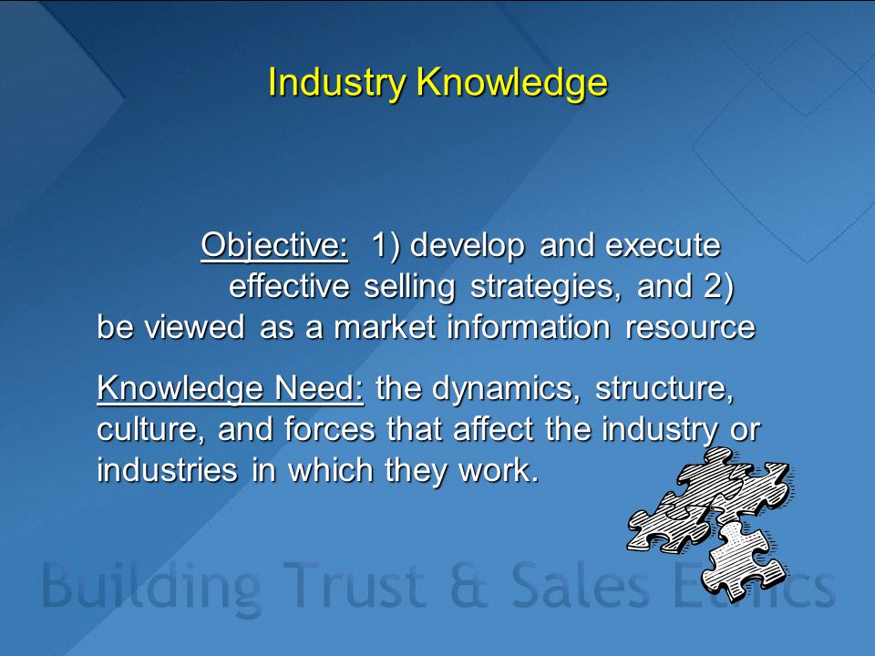 Industry Knowledge Objective: 1) develop and execute effective selling strategies, and 2) be viewed as a market information resource Objective: 1) develop and execute effective selling strategies, and 2) be viewed as a market information resource Knowledge Need: the dynamics, structure, culture, and forces that affect the industry or industries in which they work.