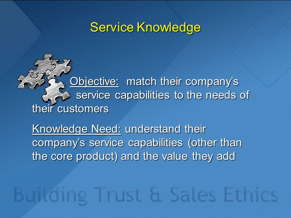 Service Knowledge Objective: match their company's service capabilities to the needs of their customers Objective: match their company's service capabilities to the needs of their customers Knowledge Need: understand their company's service capabilities (other than the core product) and the value they add