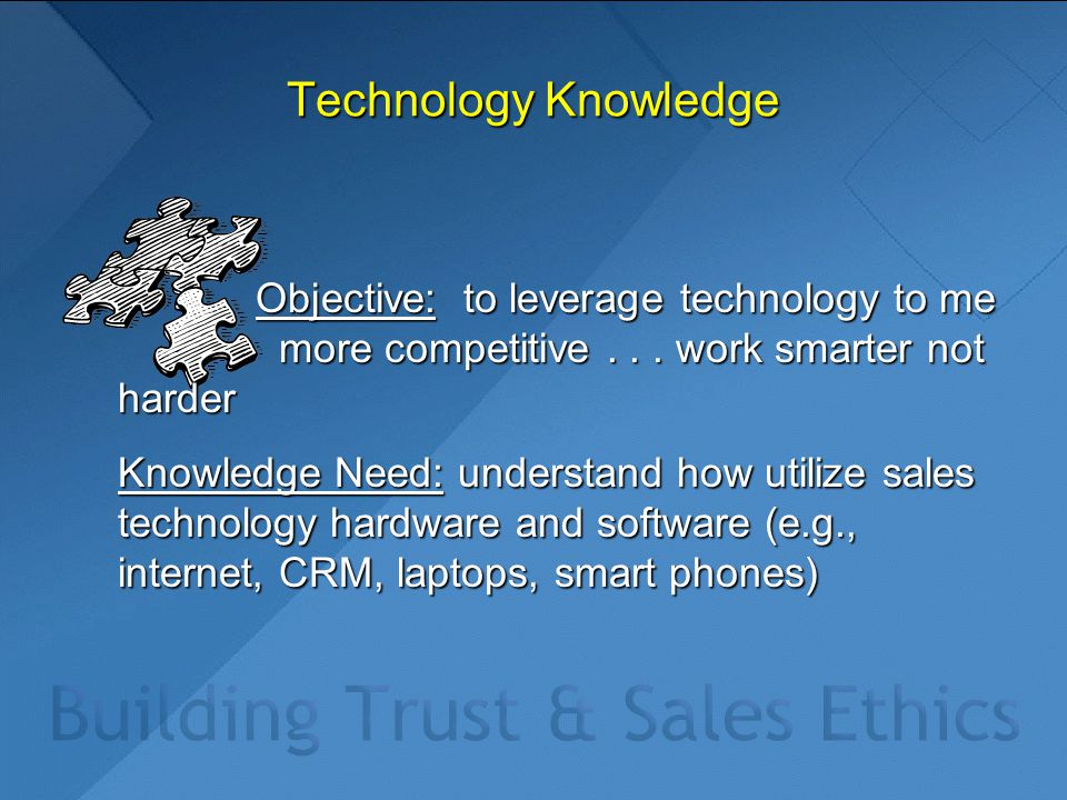 Technology Knowledge Objective: to leverage technology to me more competitive...
