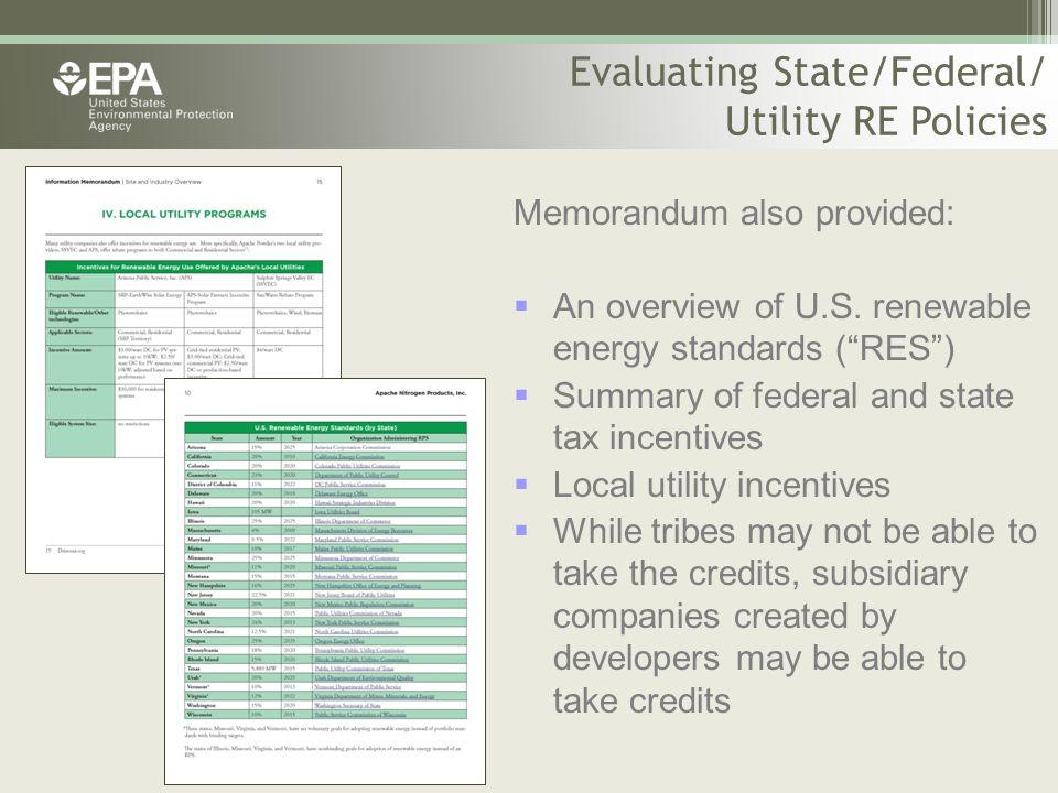 Memorandum also provided:  An overview of U.S.